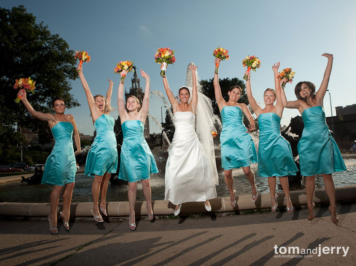 Bridesmaids jumping, Bridemaids Smile, Wedding Portraits, KC Plaza, Tom and Jerry