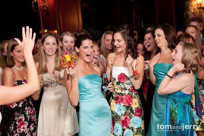 Bouquet Toss, Tom and Jerry Kansas City Wedding Photographers